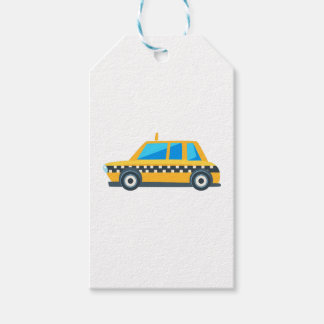 Yellow Taxi Toy Cute Car Icon. Flat Vector Gift Tags