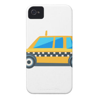 Yellow Taxi Toy Cute Car Icon. Flat Vector iPhone 4 Case-Mate Case