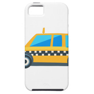 Yellow Taxi Toy Cute Car Icon. Flat Vector iPhone 5 Covers