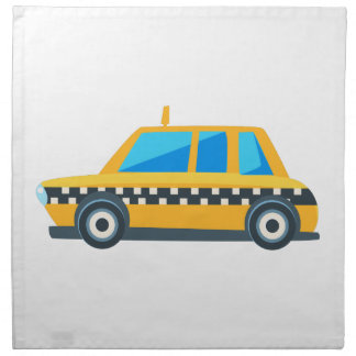Yellow Taxi Toy Cute Car Icon. Flat Vector Napkin