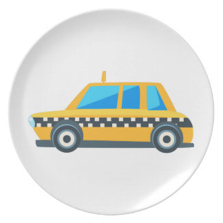 Yellow Taxi Toy Cute Car Icon. Flat Vector Plate