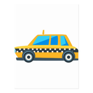 Yellow Taxi Toy Cute Car Icon. Flat Vector Postcard