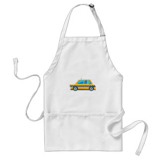 Yellow Taxi Toy Cute Car Icon. Flat Vector Standard Apron