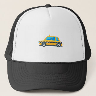 Yellow Taxi Toy Cute Car Icon. Flat Vector Trucker Hat