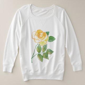 Yellow tea rose, watercolour design plus size sweatshirt