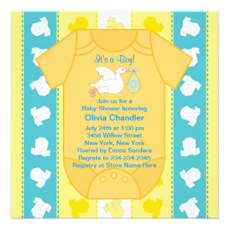 Yellow Teal Blue Stork Baby Shower Invitations