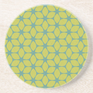 Yellow/Teal Geometric Flower Coasters