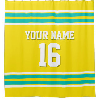 Yellow Teal White Stripes Sports Jersey Shower Curtain