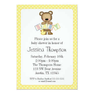Yellow Teddy Bear Blocks Baby Shower Invitations