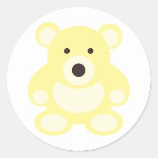 Yellow Teddy Bear Round Sticker