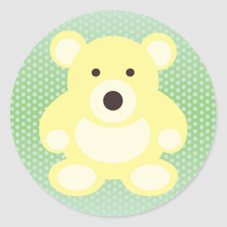 Yellow Teddy Bear Round Sticker