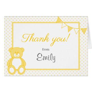 Yellow Teddy Bear Thank You Card - Gender Neutral