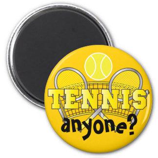 Yellow | Tennis Anyone? 6 Cm Round Magnet