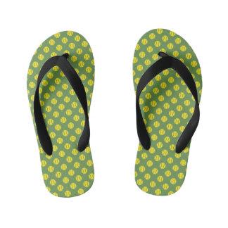Yellow tennis ball pattern flip flops for kids