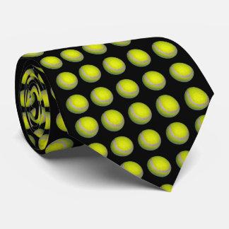 Yellow Tennis Balls On Black Background, Tie