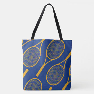 yellow tennis racquets on blue stylish tote bag