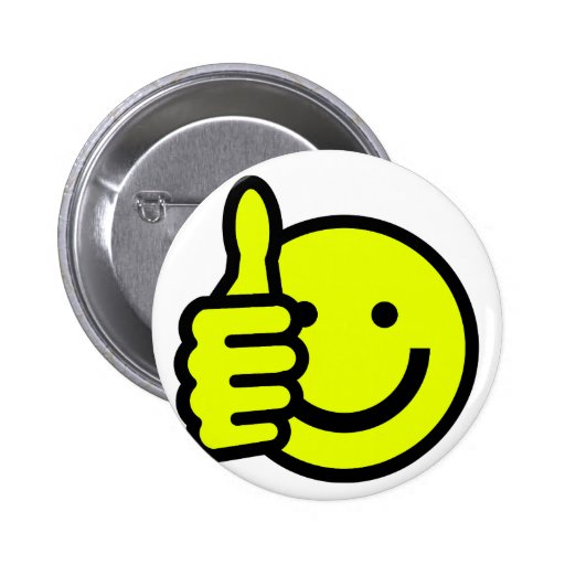 Yellow Thumbs Up Smiley Pin
