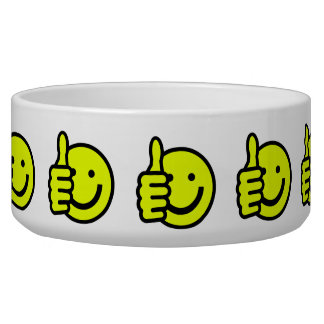 Yellow Thumbs Up Smiley Pet Food Bowl
