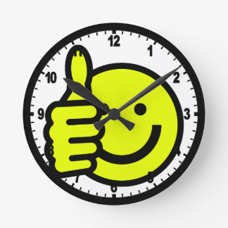 Yellow Thumbs Up Smiley Round Clock