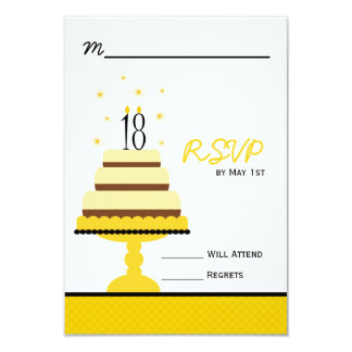 Yellow Tiered Cake 18th Birthday Party RSVP 9 Cm X 13 Cm Invitation Card