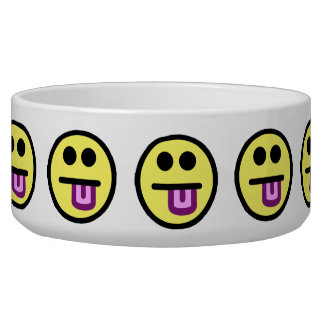 Yellow Tongue Out Smiley Face Pet Water Bowls