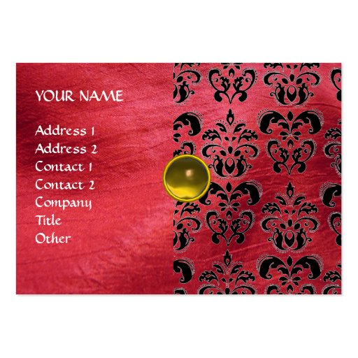 YELLOW TOPAZ  MON , RED DAMASK SILK ,Grey Agatha Business Card Template