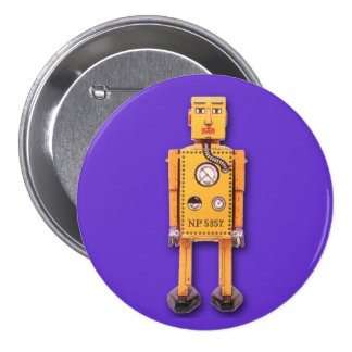 Yellow Toy Robot Round Button