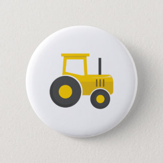 Yellow Tractor 6 Cm Round Badge