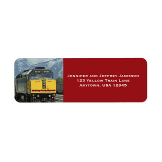 Yellow Train Birthday Return Address Labels Red