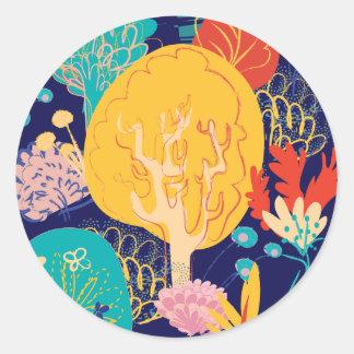 yellow tree classic round sticker