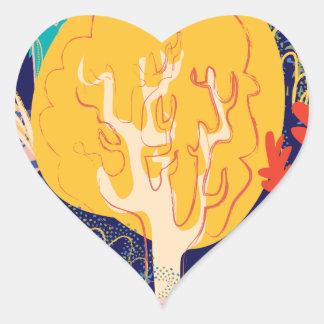 yellow tree heart sticker
