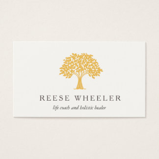 Yellow Tree Logo Health and Nature Life Coach Business Card