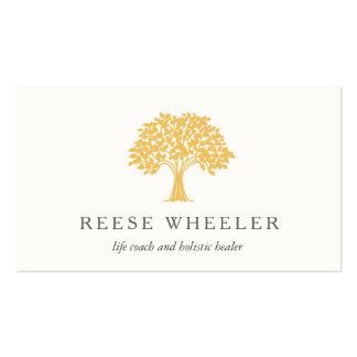 Yellow Tree Logo Health and Nature Life Coach Pack Of Standard Business Cards