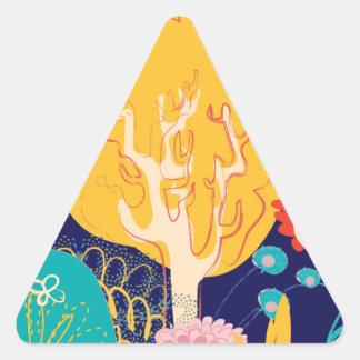 yellow tree triangle sticker