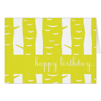 Yellow Tree Trunks Card Happy Birthday Card