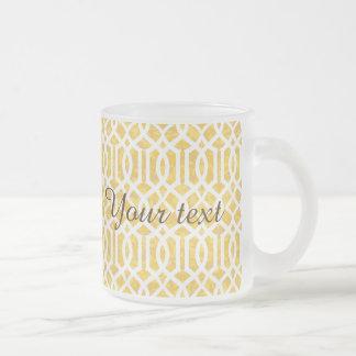 yellow, trellis,moroccan,pattern,trendy,girly,fun, frosted glass mug