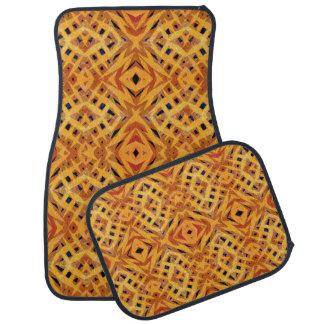 Yellow tribal shapes pattern floor mat