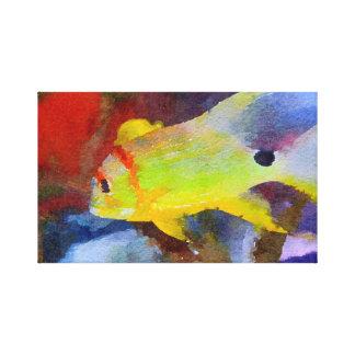 Yellow Tropical Fish Watercolor Canvas Print