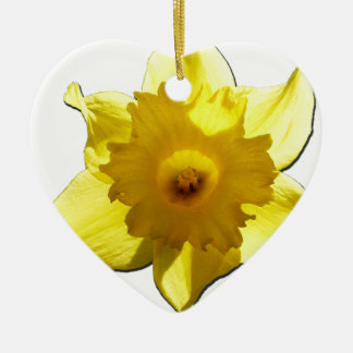 Yellow Trumpet Daffodil 1.0 Ceramic Heart Decoration