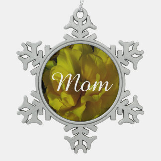 Yellow Tulip Art Snowflake Pewter Christmas Ornament