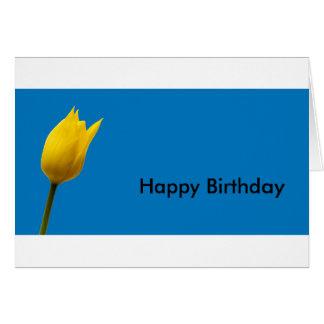 Yellow Tulip Blue Birthday Card (Customisable)