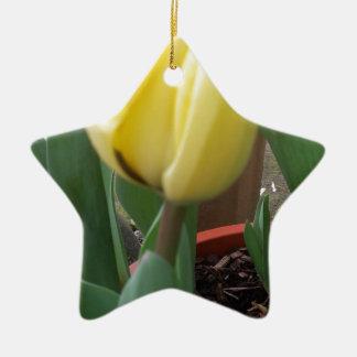 Yellow tulip ceramic ornament