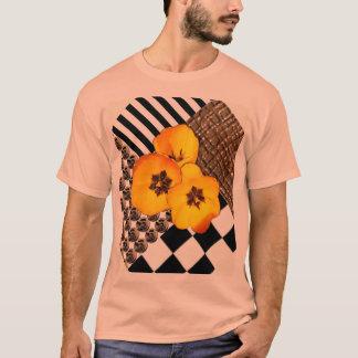 Yellow Tulip Collage on Peach Shirt
