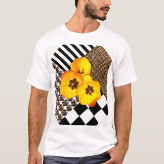 Yellow Tulip Collage on White Shirt
