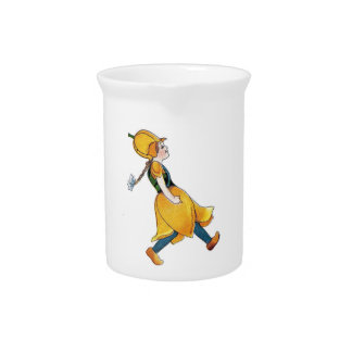 Yellow Tulip Cute Flower Child Floral Funny Girl Pitcher