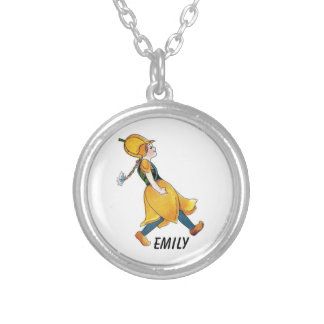 Yellow Tulip Cute Flower Child Floral Funny Girl Silver Plated Necklace
