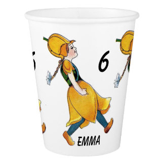 Yellow Tulip Cute Flower Floral Birthday Girl Paper Cup