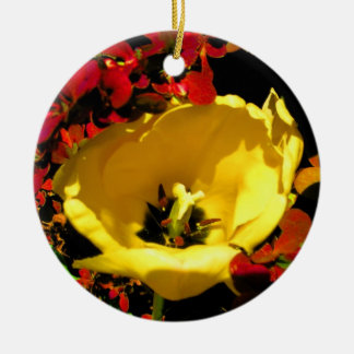 Yellow Tulip Round Ceramic Decoration