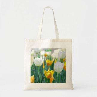 Yellow Tulip Flower Tote Bag