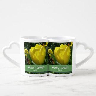 Yellow Tulip Flowers Wedding Coffee Mug Set